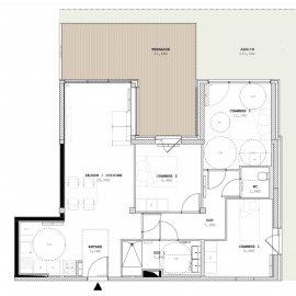 Appartement neuf avec terrasse et grand jardin, parking, cellier, 3 chambres